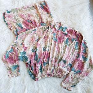 Vintage 80's Pink Floral Boho Long Sleeve Dress